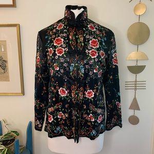 Vintage silk Asian jacket, Plum Blossom